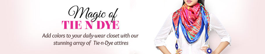 Tie-n-Dye Cotton, Chiffon, Georgette attires. Shop!