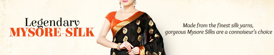 Mysore Silk Sarees with golden borders. Shop!