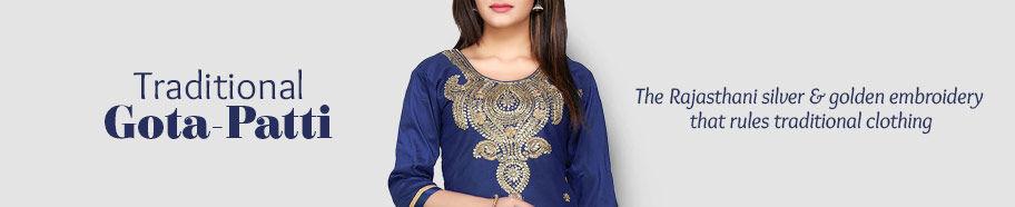 Attires with Gota patti work in myriad fabrics. Shop!