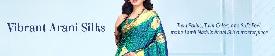 Delicate Arani Silk Sarees in vivid hues. Shop!