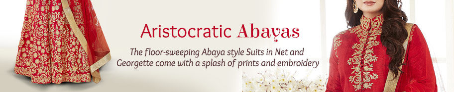 Abaya style Suits in breezy fabrics for great party wear. Shop!