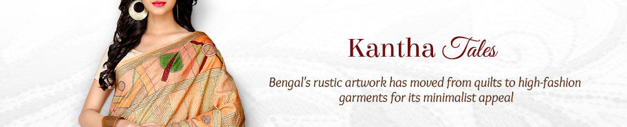 Kantha Stitch Sarees in Silk and Cotton. Shop!
