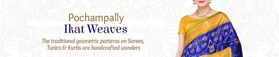 Pochampally Ikat Sarees in gorgeous designs. Shop!