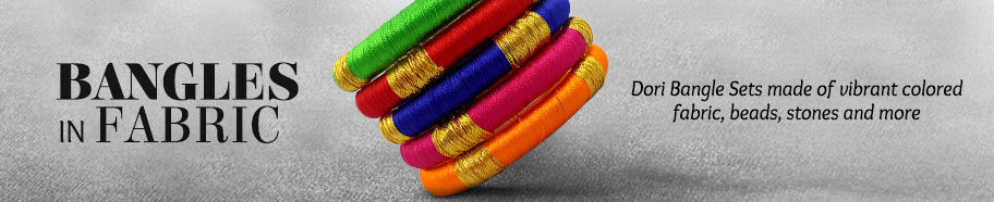 Bangle sets in multicolor fabric. Shop!