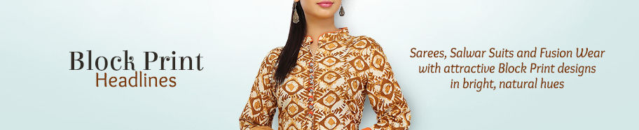 Block Print Attires on cottons and silks. Shop!