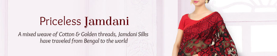 Jamdani Silk Sarees of rare texture. Shop!
