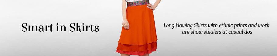 Long Skirts with ethnic prints & work. Shop!