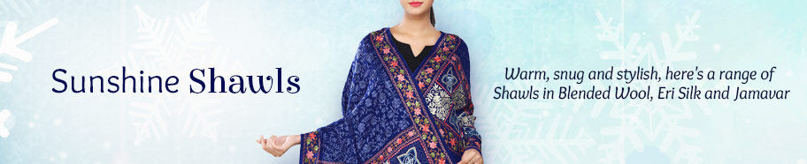 Shawls in Wool, Jamavar and Eri Silk. Shop!