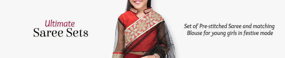 Saree Sets in Silk, Net and more for young girls. Shop!