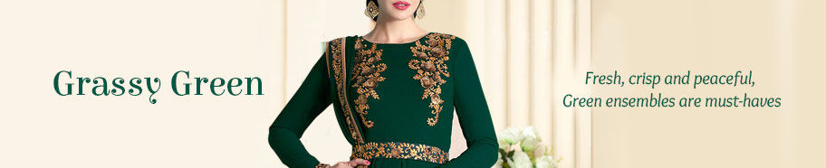 Range of ethnic apparels in Green. Buy!