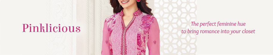 Variety of ethnic attires in Pink. Shop!