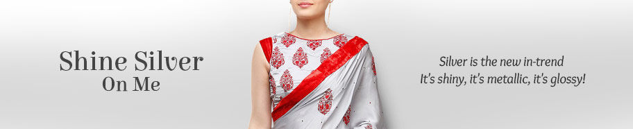 Range of ethnic attires in Silver. Buy!