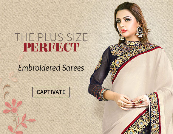 Shop Embroidered Sarees with Plus Size Blouses.