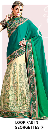 Shop Georgette sarees with Plus Size Blouses
