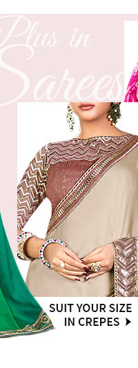 Shop Crepe Sarees with plus size blouses