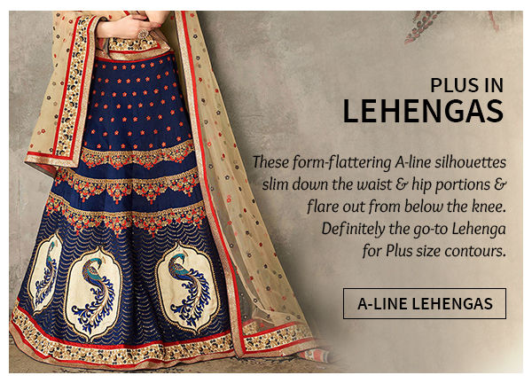 Plus size A-line Lehenga Cholis. Shop!