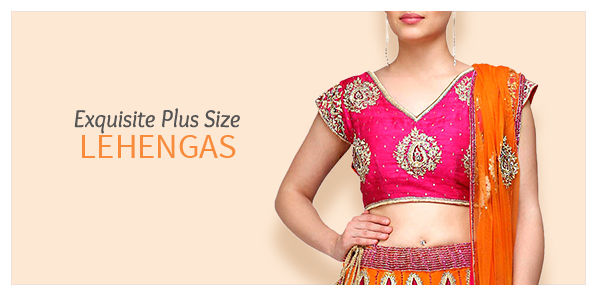 Shop Plus Size readymade lehengas