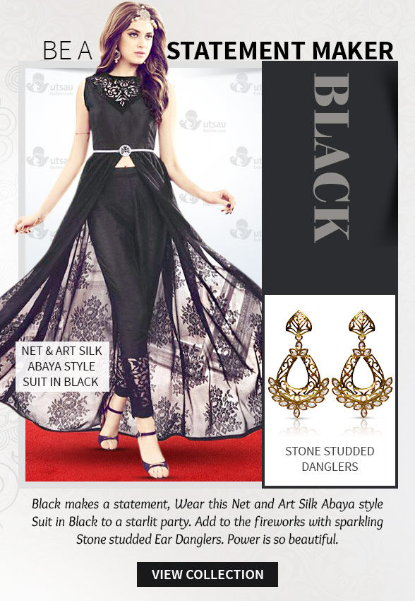 Lehenga Cholis, Sarees, Salwar Suits & Indo Westerns in Black with Jewelry. Shop!