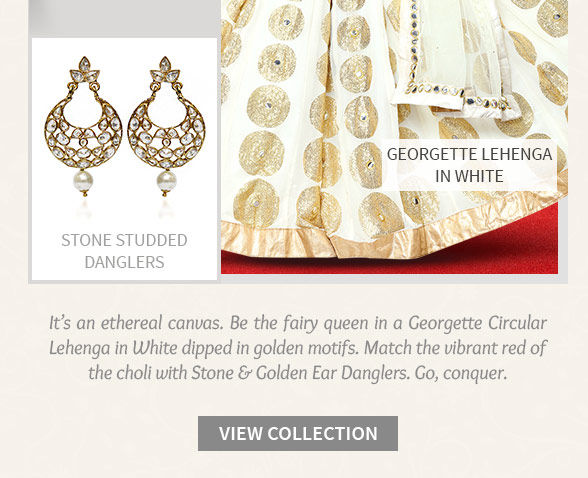 Lehenga Cholis, Sarees, Salwar Suits & Indo Westerns in White with Jewelry. Shop!