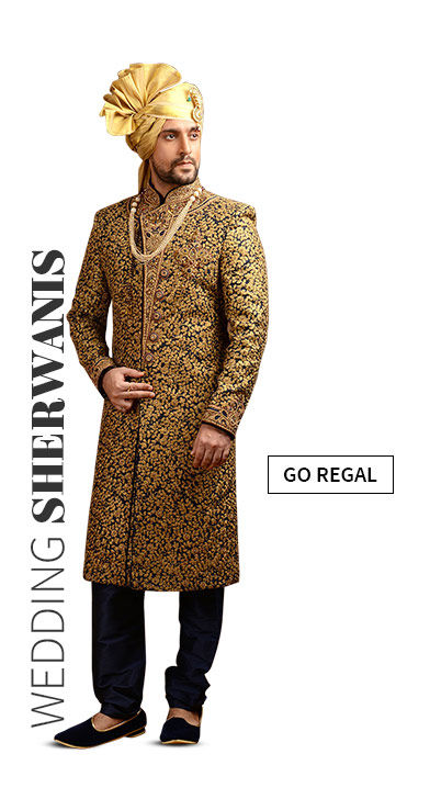 Sherwanis in Brocade or Jacquard for Weddings. Shop!
