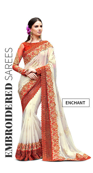 Embroidered Sarees with Zari, Resham work for Weddings. Shop!