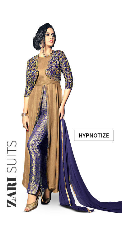 Salwar Suits with Zari work in Silk, Art Silk and more. Shop!