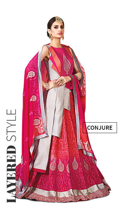 Layered Lehenga Cholis with Jackets and multi tiers. Shop!