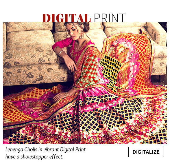 Lehenga Cholis and Salwar Kameez in Digital Print. Shop!