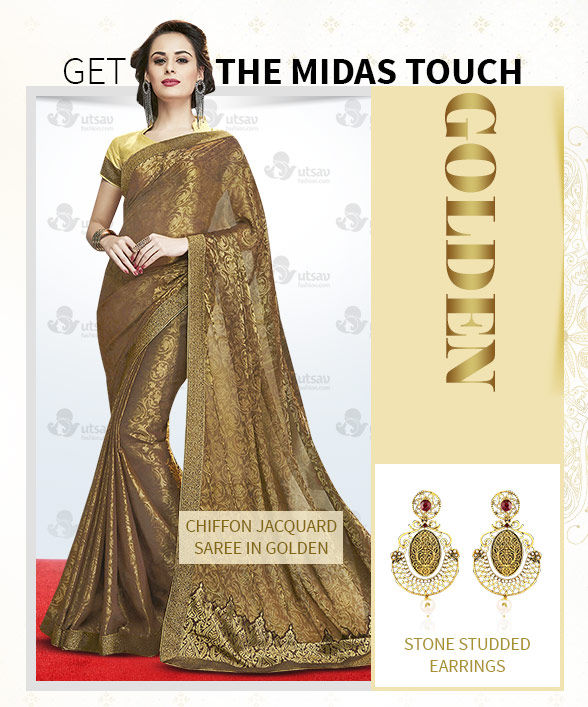 Lehenga Cholis, Sarees, Salwar Suits & Indo Westerns in Golden with Jewelry. Shop!