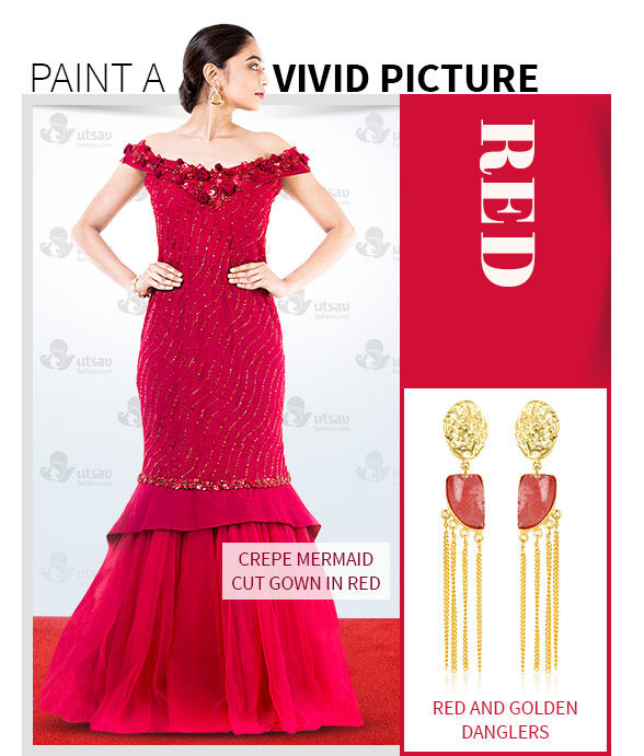 Lehenga Cholis, Sarees, Salwar Suits & Indo Westerns in Red with Jewelry. Shop!