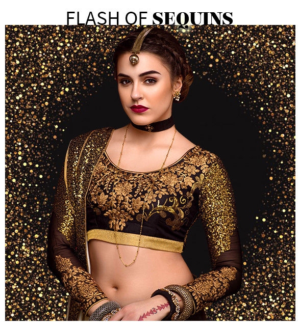Party wear Chiffon Sarees, Abaya style Suits, Gowns, Lehenga Cholis and more with Sequin work Shop!