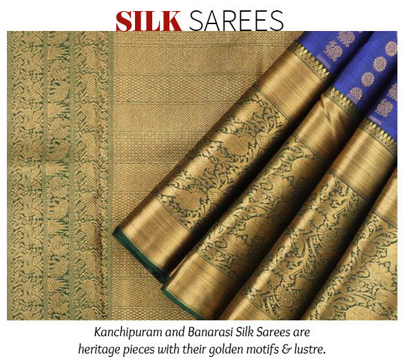 Kanchipuram and Benarasi Silk Sarees. Shop!