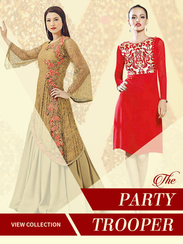 Partywear: Tops with Bottoms, Gowns, Jackets and more in Art Silk, Brocade, Chanderi Silk. Shop!