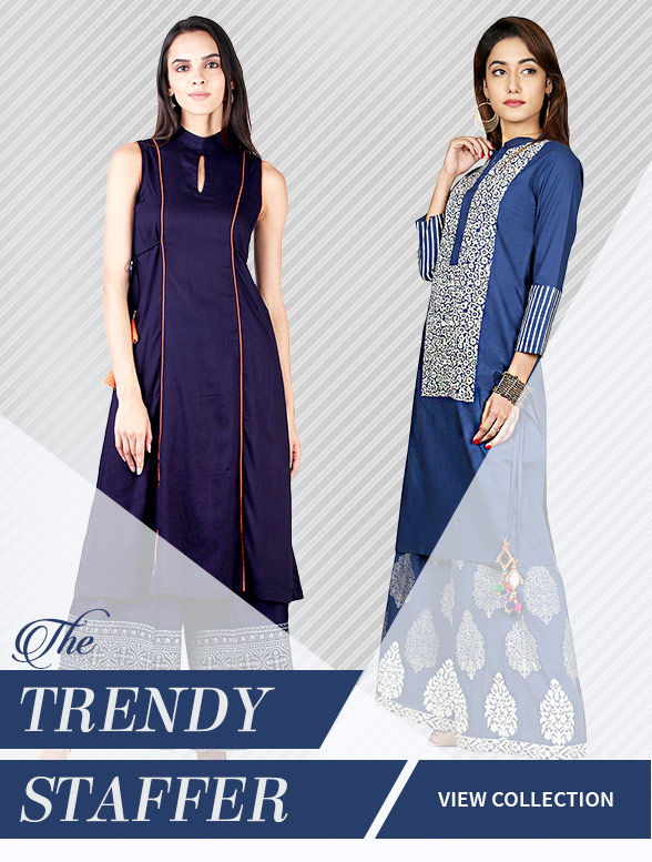 Workwear: Tops with Bottoms, Kurtas, Tunics, Dresses in Cotton, Linen, Khadi & Georgette. Shop!