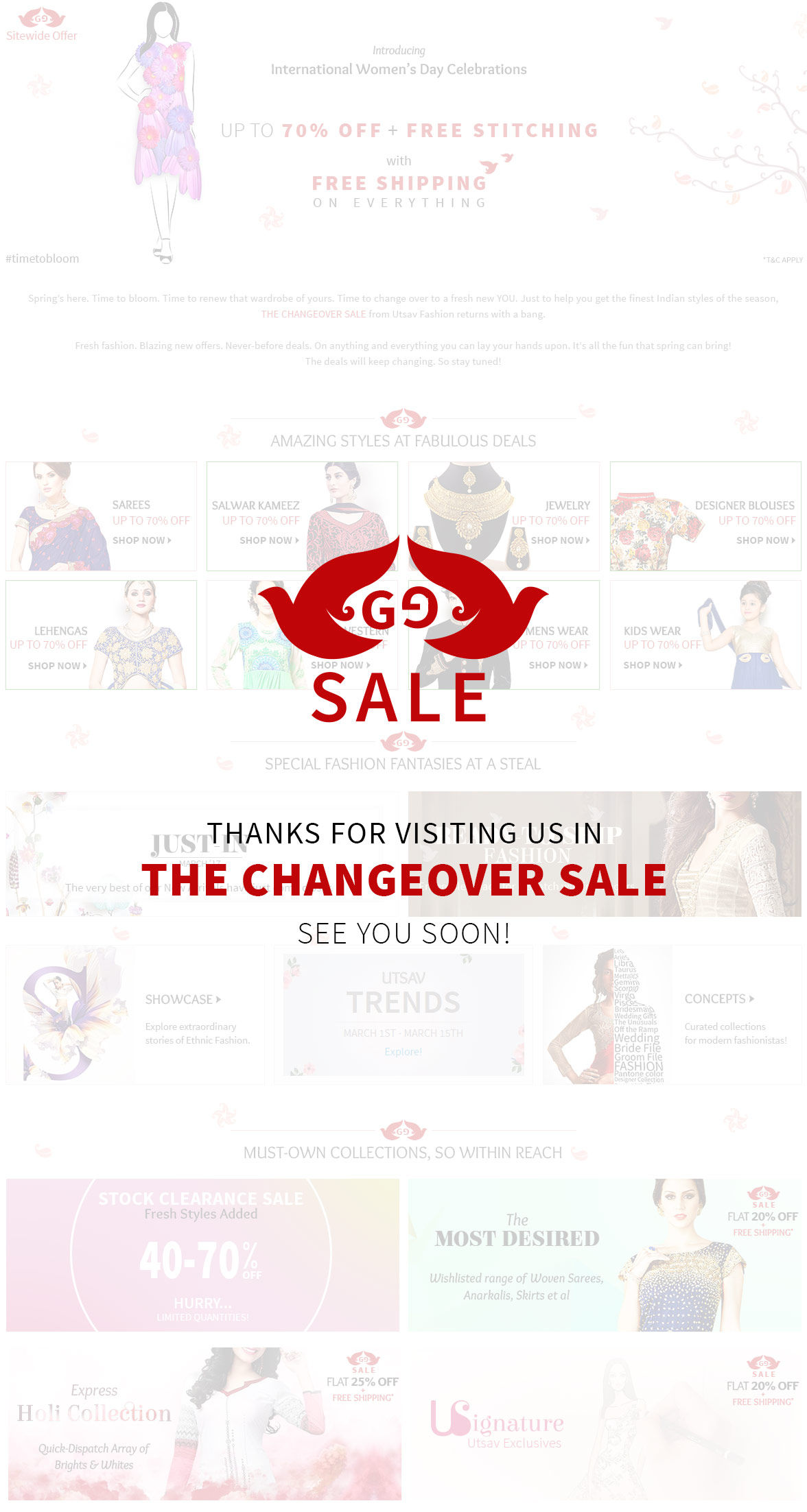 Changeover Sale: Upto 70% Off Sitewide plus Free Stitching & Free Shipping. Hurry!