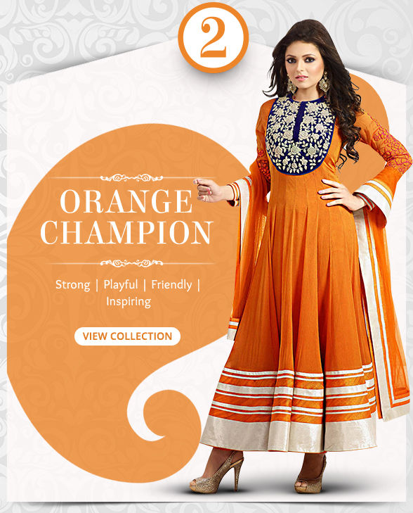 Captivating range of Sarees, Salwar Kameez, Lehengas, Indo Westerns & Add-ons in shades of Orange. Shop!