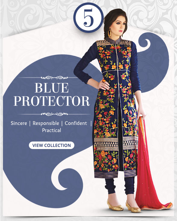 Enchanting range of Sarees, Salwar Kameez, Lehengas, Indo Westerns & Add-ons in shades of Blue. Shop!