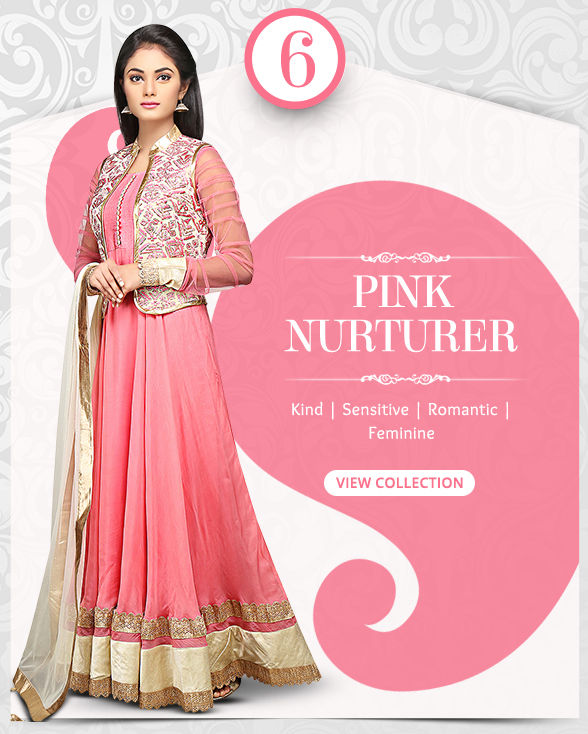 Dynamic range of Sarees, Salwar Kameez, Lehengas, Indo Westerns & Add-ons in shades of Pink. Shop!