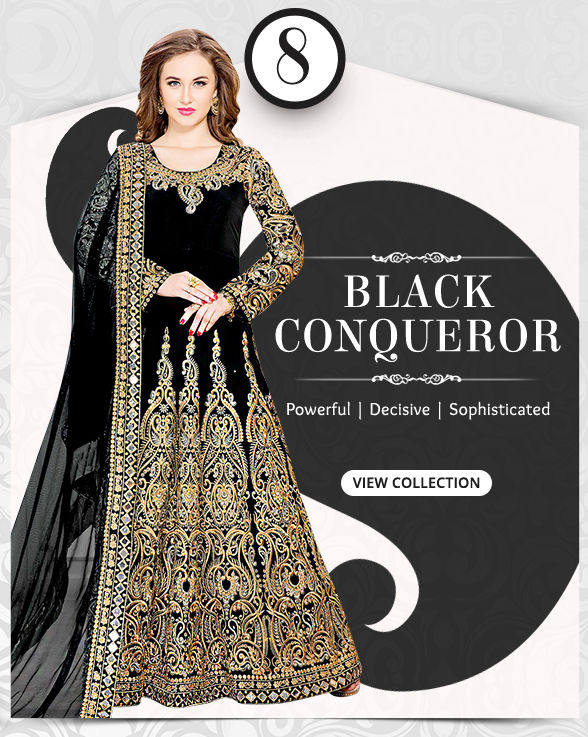 Attractive range of Sarees, Salwar Kameez, Lehengas, Indo Westerns & Add-ons in shades of Black. Shop!