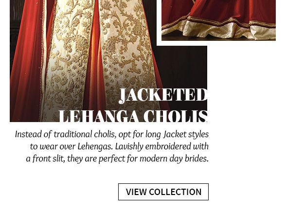 Elongated Silhouettes: Explore Jacketed Lehenga Cholis. Shop!