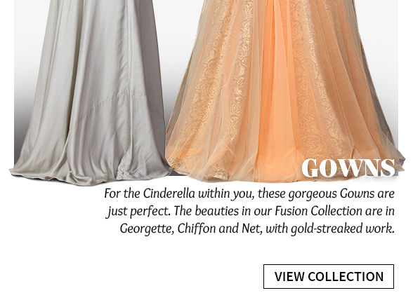 Elongated Silhouettes: Explore Gowns with ethnic work. Shop!