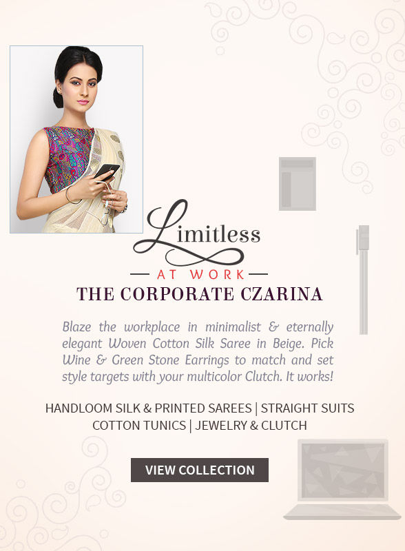Handwoven Sarees, Straight Suits, Cotton Tunics, Accessories & more for Work wear. Shop!