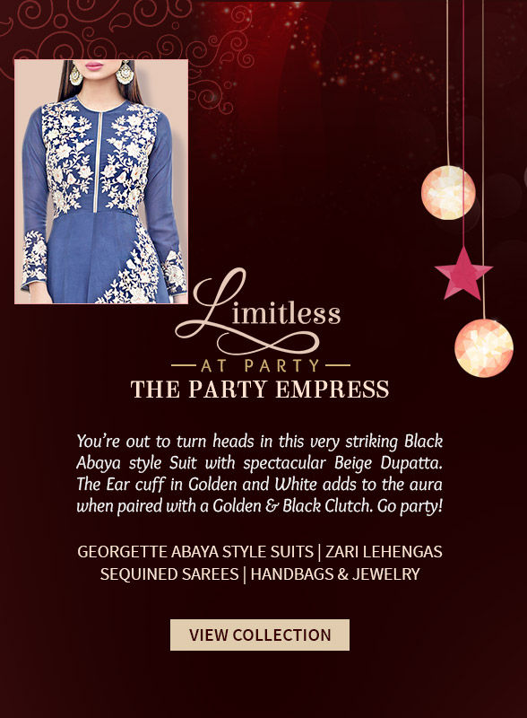 Georgette Abaya style Suits, Zari Lehengas, Sequined Sarees & more for Parties. Shop!