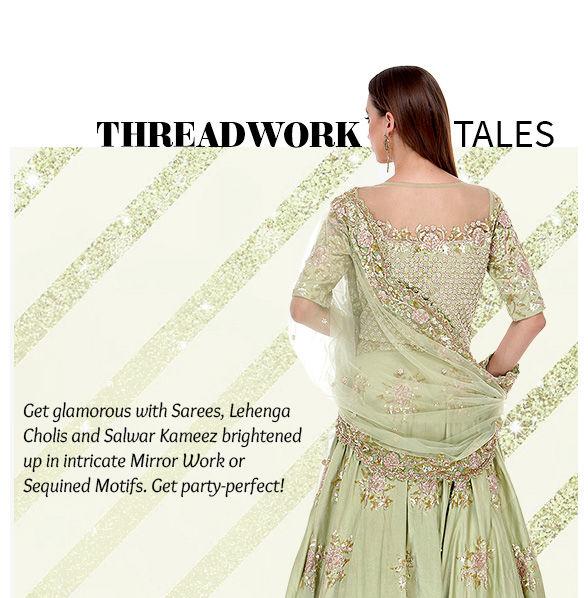 SS'17 Trend:Sarees, Salwar Suits & Lehenga Cholis with Mirror & Sequin work. Shop!