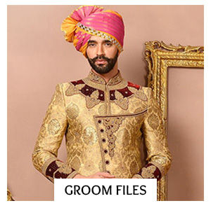 Groom's Closet of Sherwanis, Jodhpuri Suits, Turbans & more in dark colors. Shop!