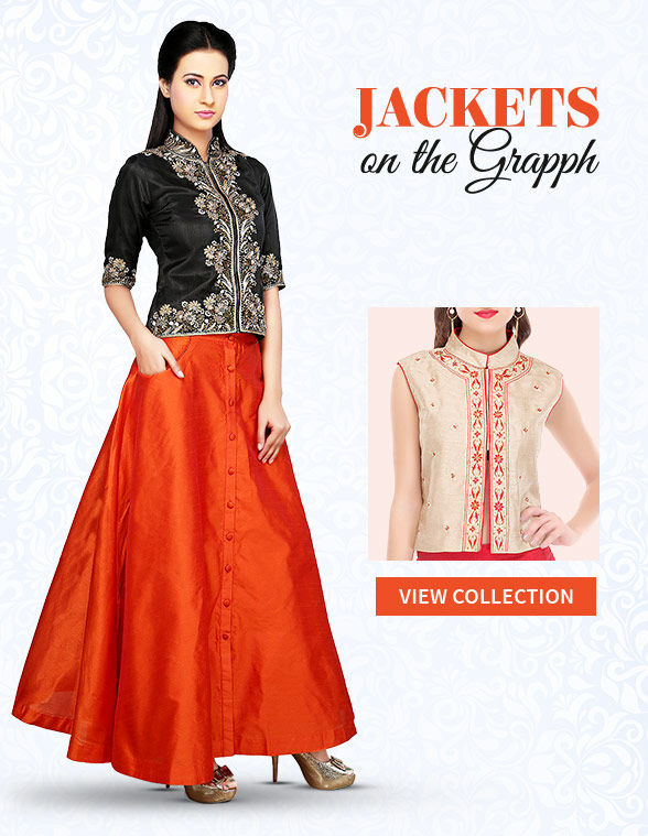 Ethnic jackets in Silk, Brocade, Jacquard and Cotton for Work Wear. Shop!