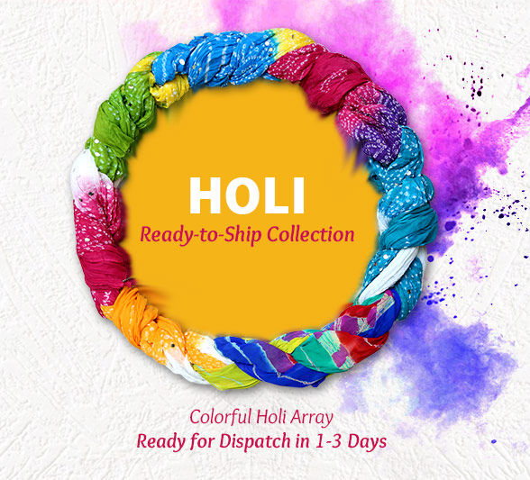 Ready-to-Ship collection of bright Sarees, A-line Suits & more for Holi. Shop!