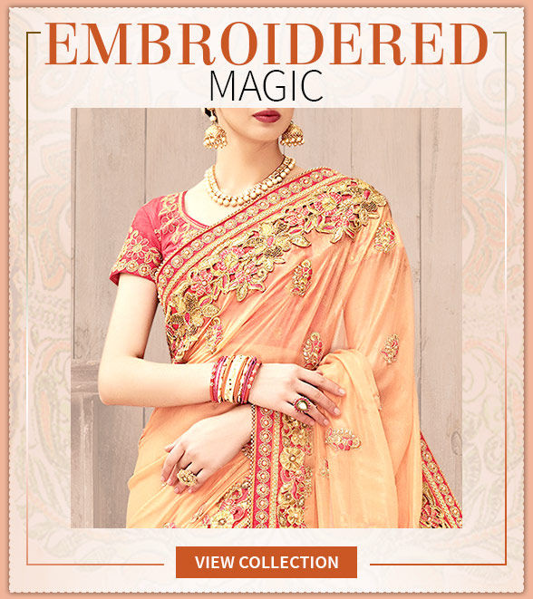 Captivating Sarees with Embroidered Pallus for perfect Party Wear. Groove!