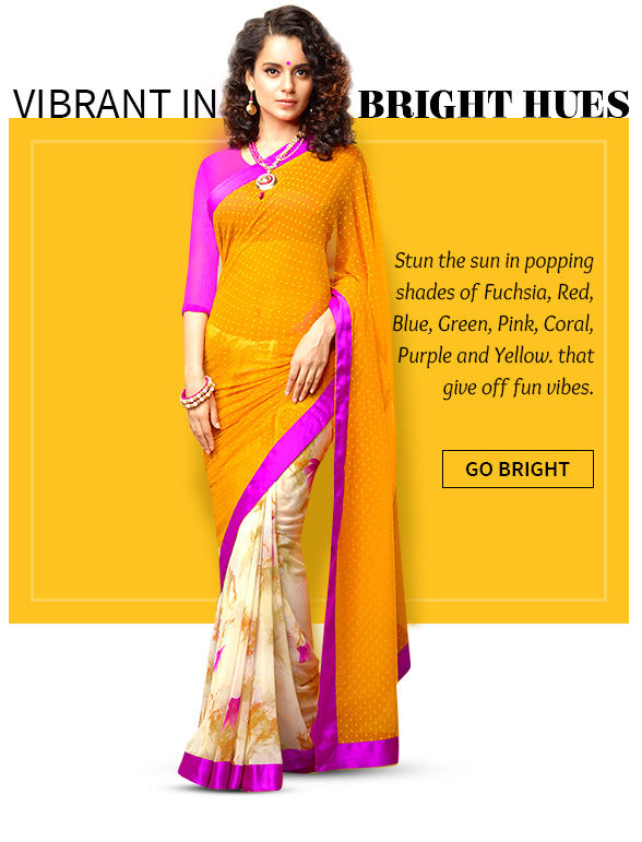 Ensembles in trending Fuchsia, Red, Blue, Green, Pink, Coral, Purple and Yellow. Shop!