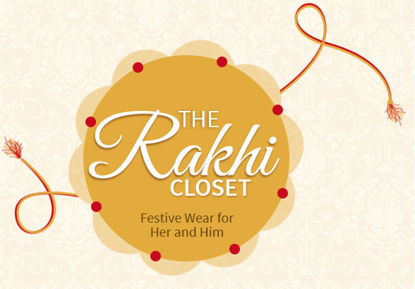 Rakhi Wardrobe of light work sarees, anarkalis, men's kurtas, kids' salwar sets and more. Shop!